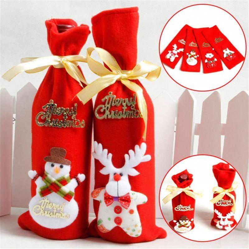Рождественская посуда Санта-Клаус красные цвета украшения Рождество бутылки вина охватывает мешок обеденный стол декор для домашней вечеринки