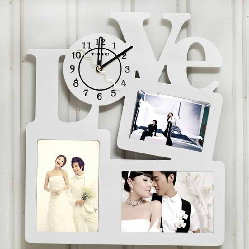 Modern Wooden Photo Frame Clock with 3 Pictures frame Living Room Art Decor Horloge Murale