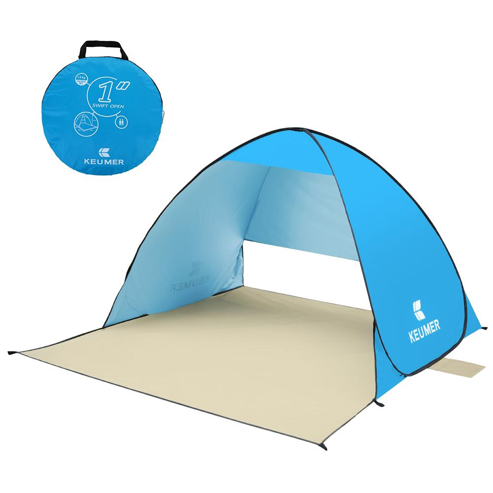 KEUMER Anti UV Beach Tent Outdoor Automatic Tent Instant Up Open Camping Portable Sun Shelter for Summer Fishing Picnic