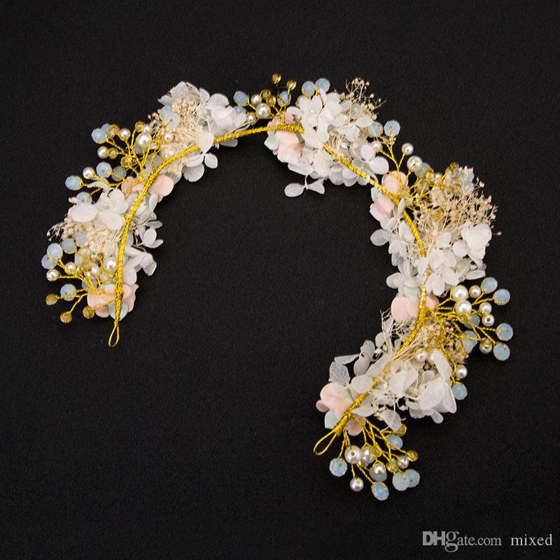 Цветочные повязки на голову женщины корона кристалл оголовье богемной Свадебный цветок тиара Halo Hairpiece Boho свадебные аксессуары для волос