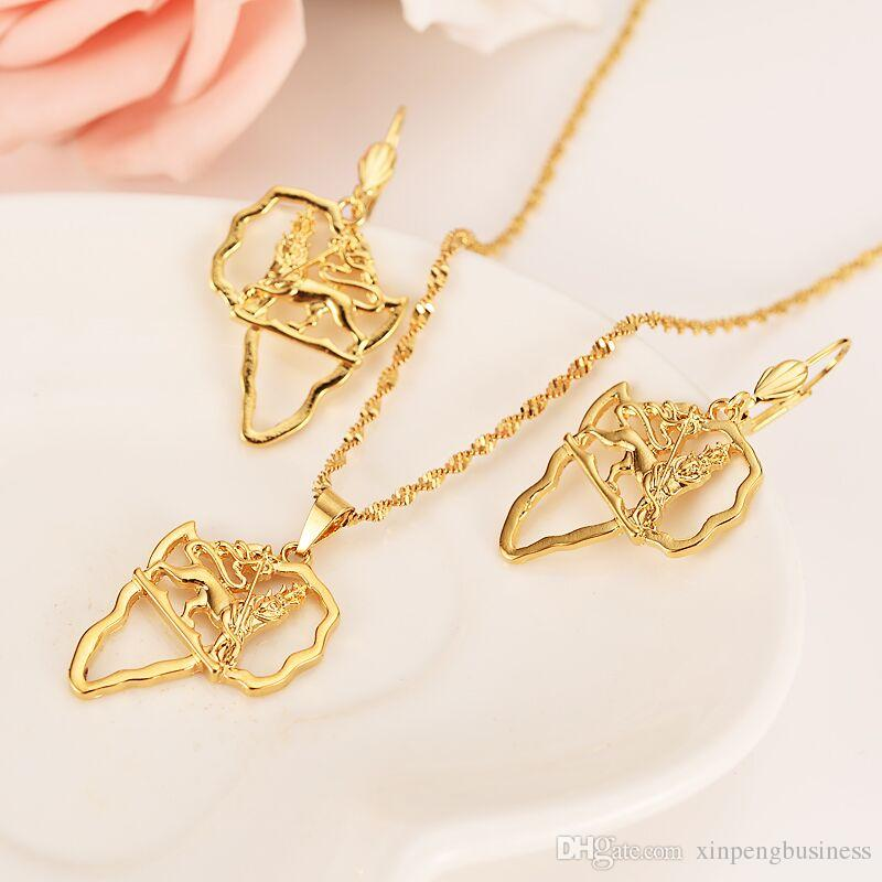 Ethiopian Africa Map lion Jewelry sets 14k Real Fine Gold GF Jewelry Sets Statement Necklace Earrings Pendant African Wedding party gifts
