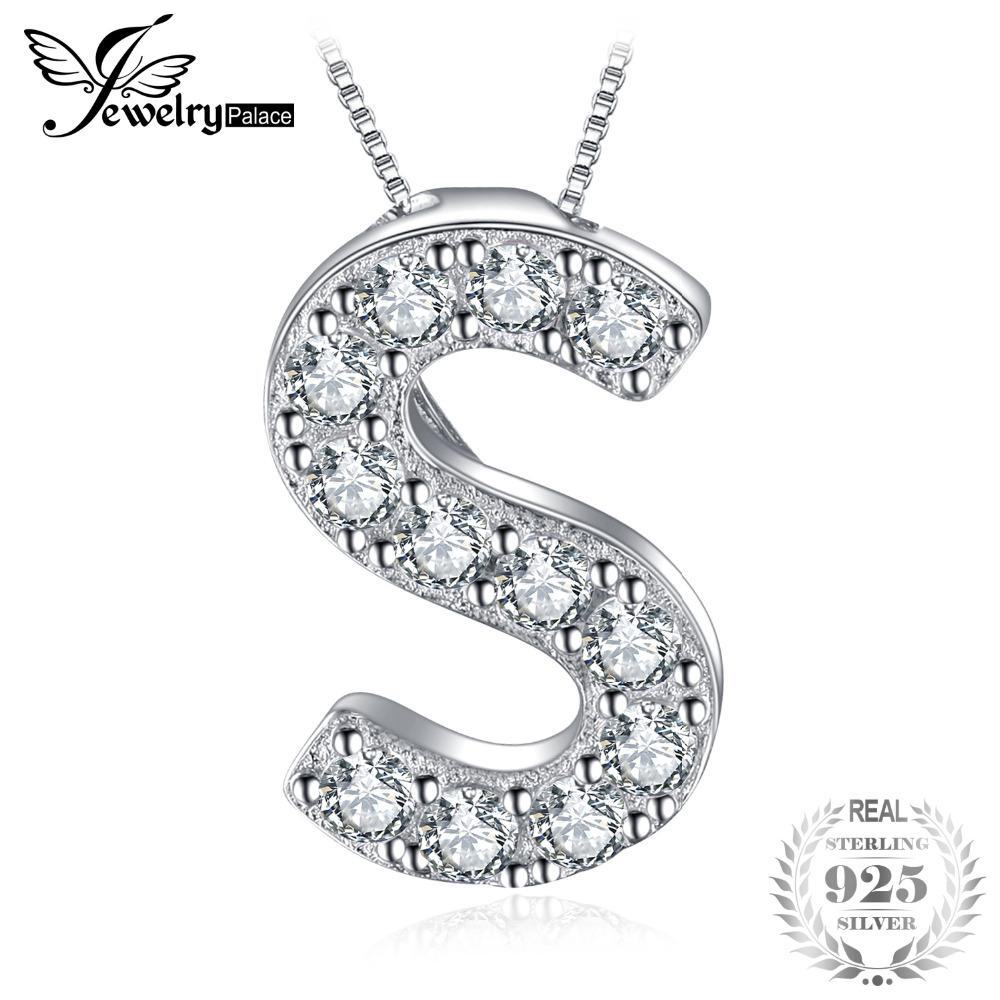 s 925 Sterling Silver CZ Letter Initial S Pendant Necklace