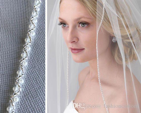 Venta caliente Blanco Marfil Champagne Velo de la boda de la boda Longitud de la punta de una capa Vela nupcial Perlas de borde con pene con peine SG07