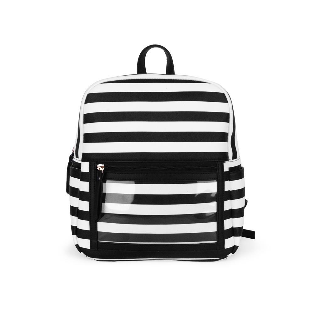 brand fashion designerWholesale Blanks PU Stripe Clear PVC Backpack Solid Black Lipstick Display Shoulder Bag PVC Pockets School Bag DOM1023