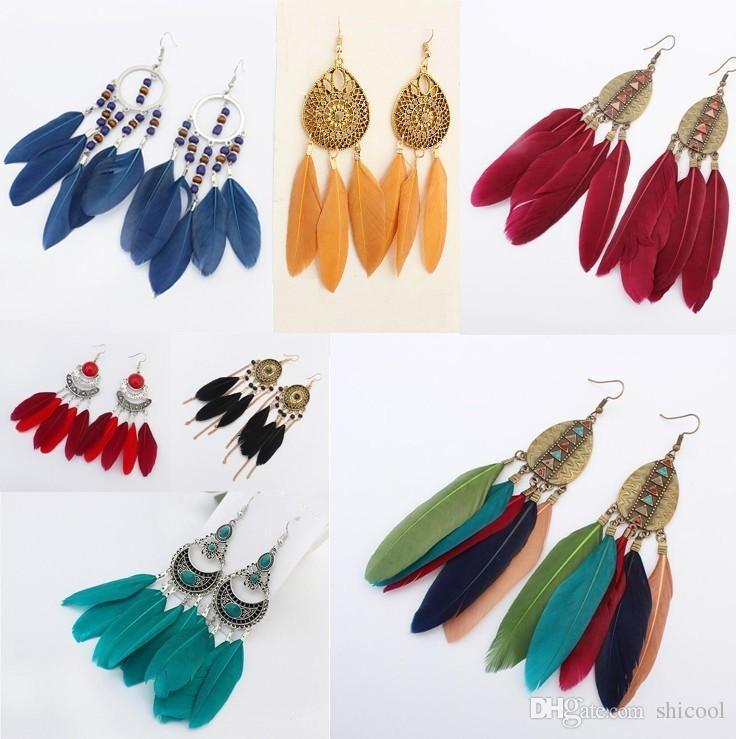 Orecchini di piume etniche per le donne Fashion Fan smalto lungo orecchino a goccia femminile Bohemia dichiarazione nappa gioielli orecchini di design