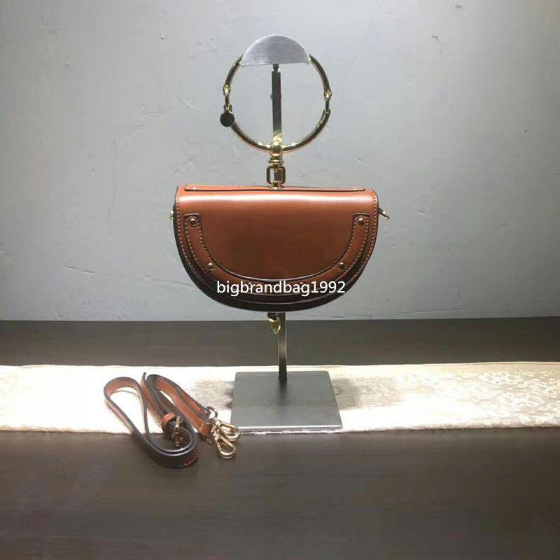 2020 الجديد 20CM برشام جلد المرأة الحقيقية حقائب اليد دورة حلقة الشهيرة حقيبة الكتف حقيبة سيدة صغيرة أزياء شحن مجاني