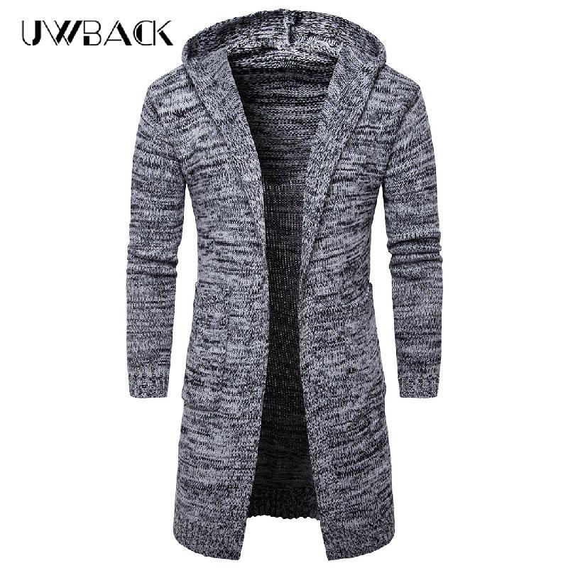 Uwback hombres suéteres largos 2017 invierno manga larga gruesa de punto cardigan hombre con capucha negro gris cálido suéter abrigos XA399