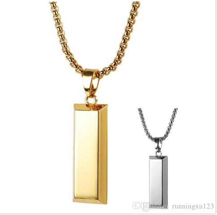 100pcs Hiphop Altın Küp Bar NecklacePendant Hip Hop Takı Dans Charm Franco Erkekler Zincir kolye R111