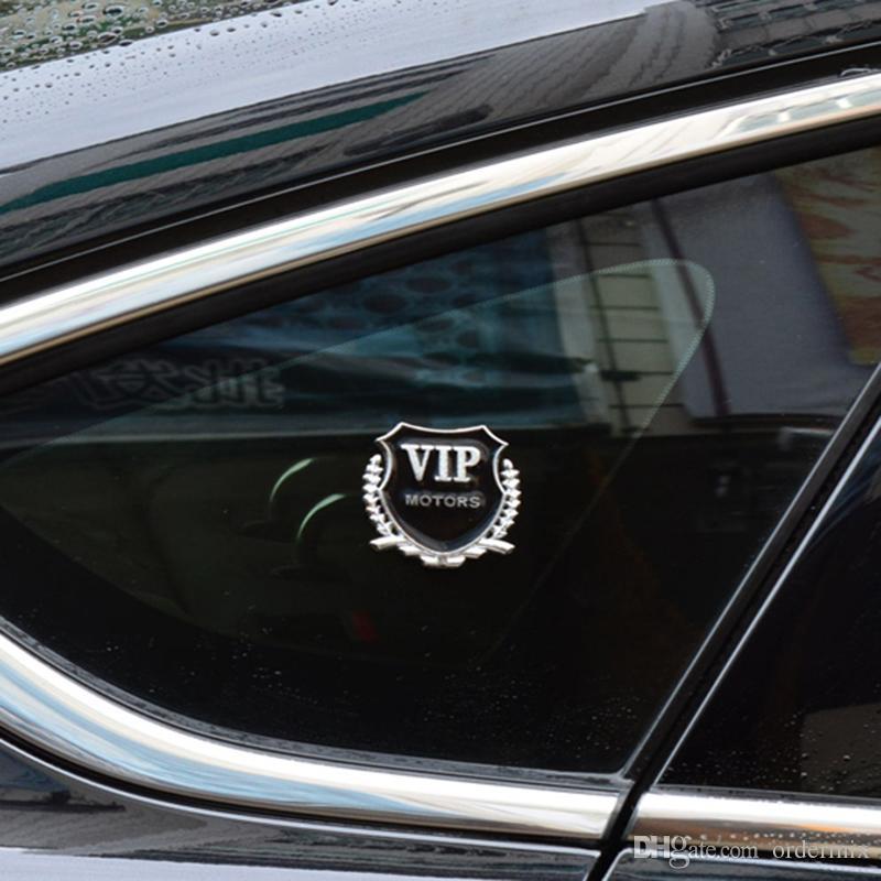 Car-styling 2 unids / lote 3D Metal Emblema VIP Puerta de la ventana del cuerpo pegatinas para BMW Audi VW KIA Toyota Ford Nissan Mazda Accesorios para automóviles