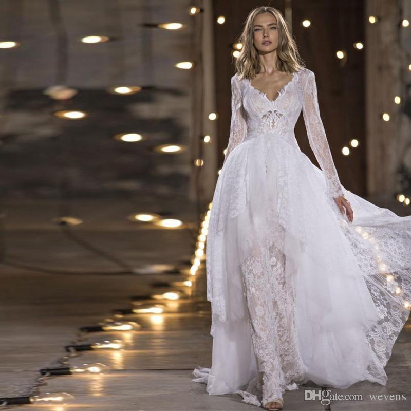 Nurit Hen 2019 Modest Mermaid Wedding Dresses with Long Sleeve Robe Jacket Whole Lace Custom Make Princess Garden Wedding Gowns