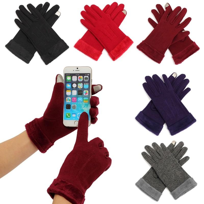 New Winter Gloves Velvet Women Touch Screen Keep Warm Full Fingers Wrist Driver's Mittens Lady Thicken Warmer Gloves Guantes
