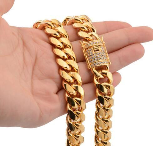 """14mm Mężczyźni Cuban Miami Link Chain 18k Yellow Gold Stainless Stainless Lad Diamond Clop Naszyjnik 24 """""""