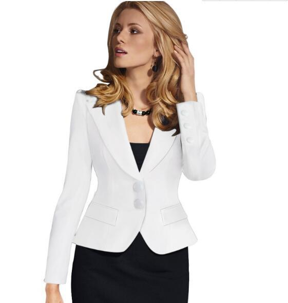 Blazer Female Blue Women Suit Office Ladies 2017 New Spring Slim Top EleShort Design Clothes Two buckle suit woman coat 4XL