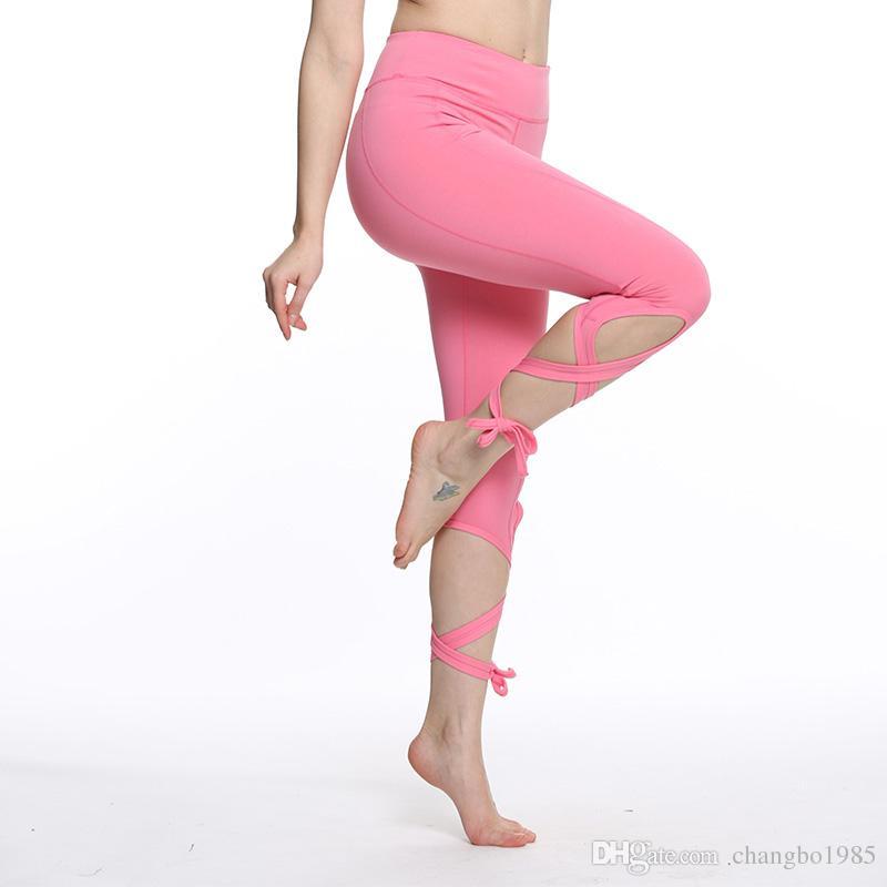 Kadın bandaj yoga pantolon balerin kırpılmış spor tayt spor çapraz pantolon bale dans tayt cep ile