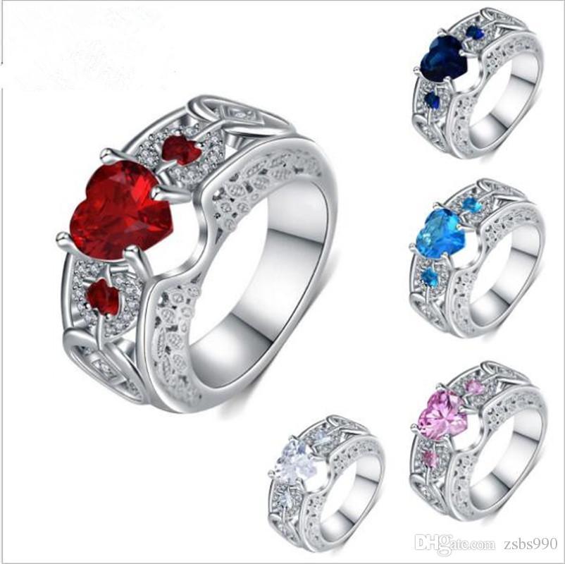 Gros blanc plaqué or en forme de coeur en forme de zircon fiançailles / bague de doigt de mariage de mode Saint Valentin cadeau bijoux pour femme Mix couleur