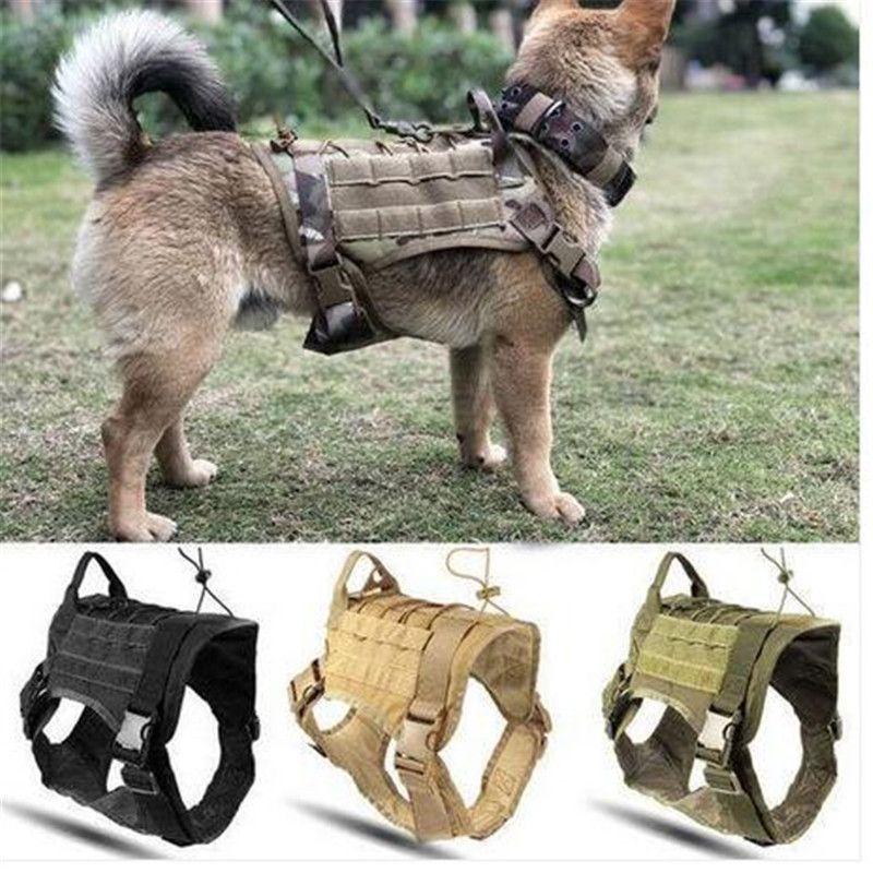 Полиция K9 Tactical Кинологический Harness Военный регулируемый Molle нейлон жилет собак Одежда