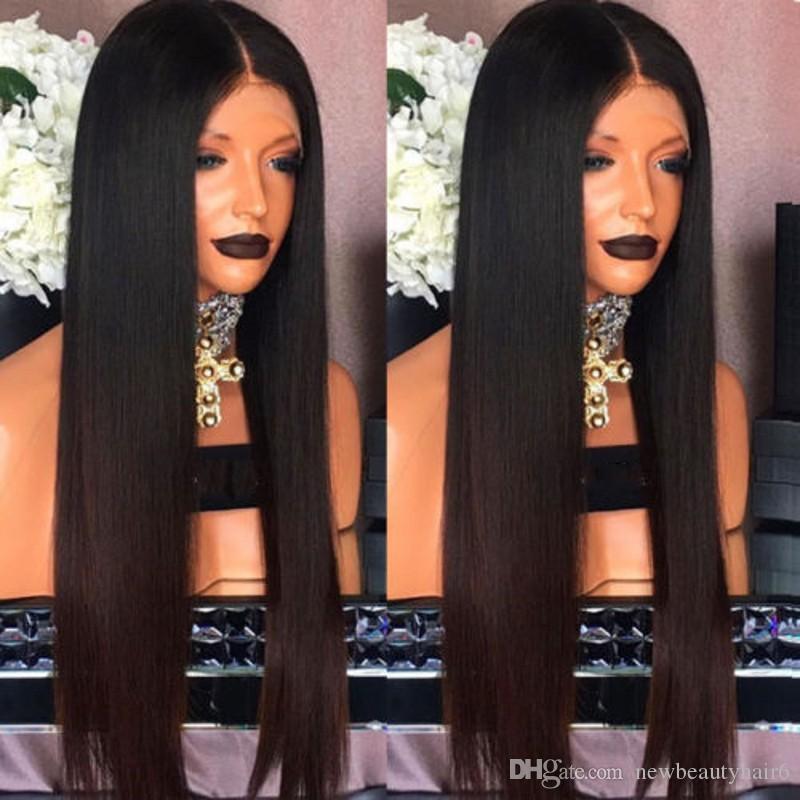 Высокое качество Ombre темно-коричневый Цвет бразильский полный парик фронта шнурка Предварительно сорвал волос синтетический парик для черного womem с волосами младенца