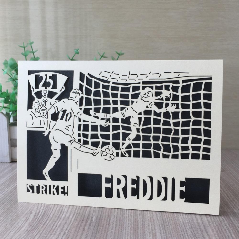 30 шт./лот изысканный лазерной резки Перл бумаги приглашения карты футбол партия приглашения Поздравительная открытка партия сувениры