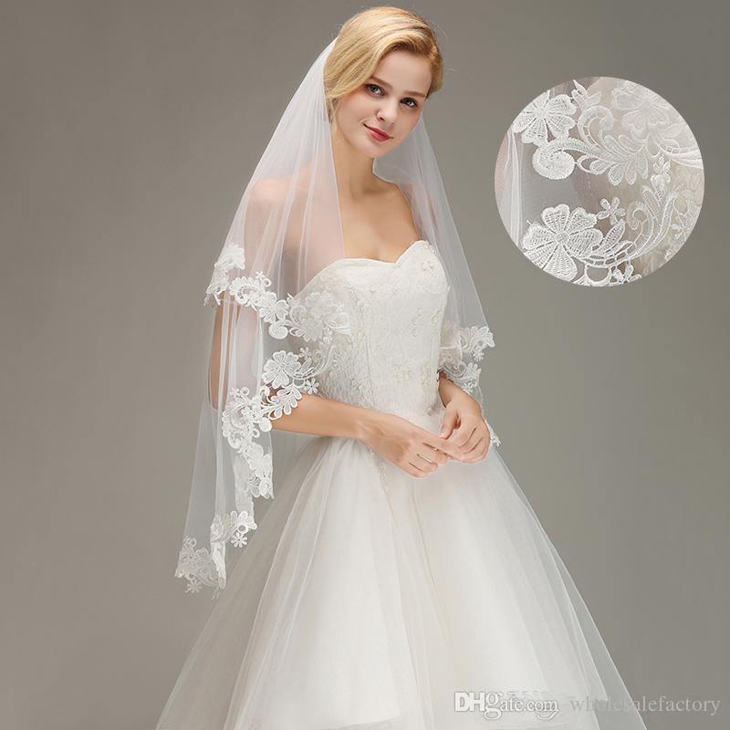 Ucuz Beyaz Fildişi Iki Katmanlar Dantel Kısa Düğün Veils Tül Aplike Gelin düğün Veils 100% Gerçek Görüntü CPA1446