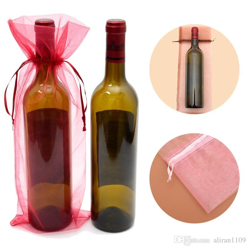 15x38cm Organza Wine Cover Gags For Wedding Party Christmas Jewelry Gifts Bags Clear Organza Wine Bottle Bag Gift Packaging Pouch Favor Sack