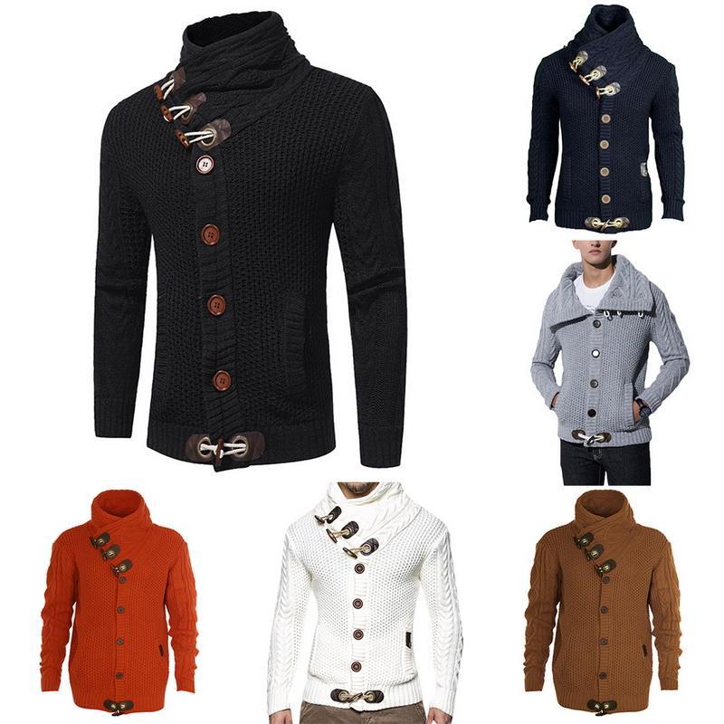 2020 осень зима вскользь Кардиган свитер пальто Мужчины Сыпучие Fit Теплый Вязание Одежда Свитера Пальто мужские кнопки Вверх
