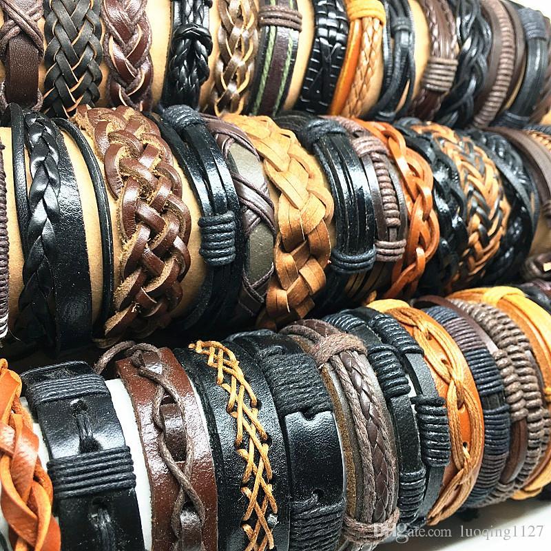 Оптовая 50 шт. / лот Ассорти топ ручной работы кожаные браслеты манжеты для мужчин женщин байкер мода ювелирные изделия новый
