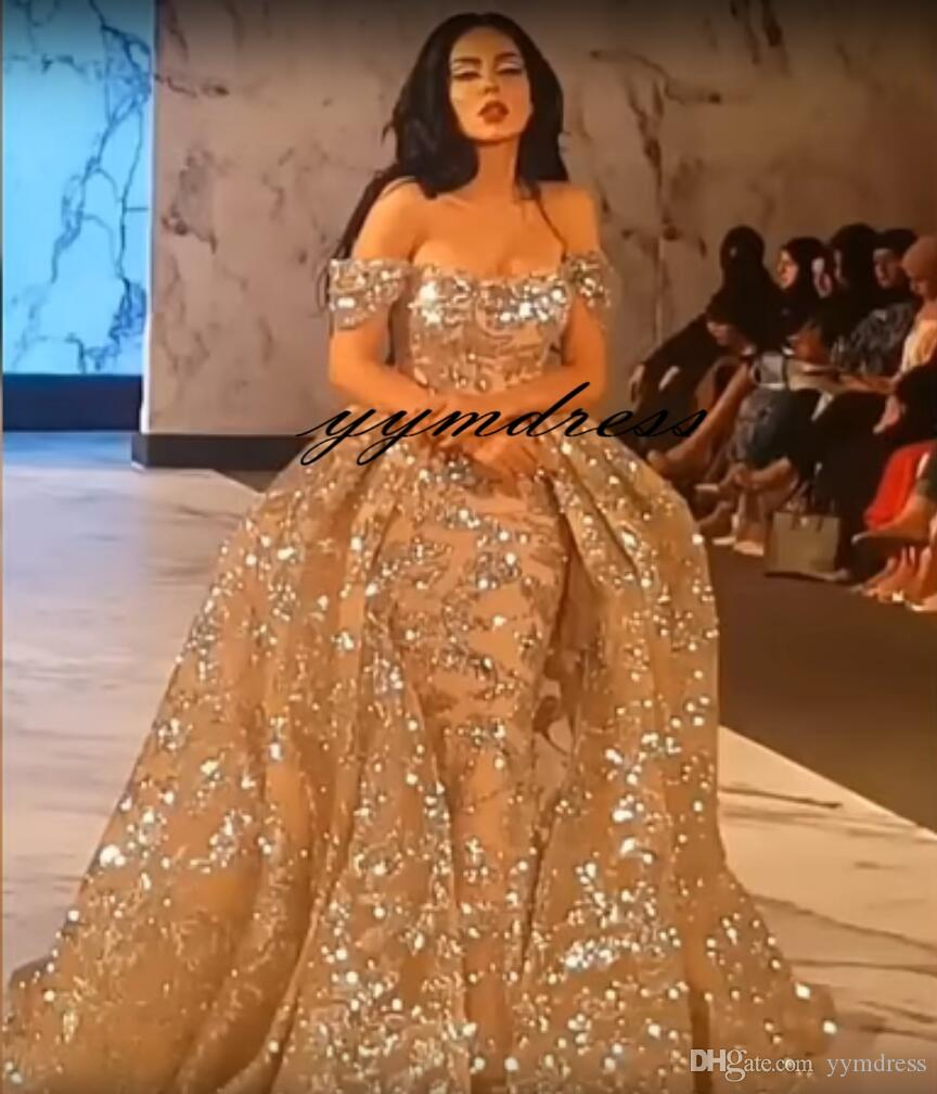 Evening Dresses 2019 Yousef Aljasmi Dubai Arabic Bling Bling Gold Sequins Prom Gowns Detachable Overskirts Off Shoulder Mermaid Party Dress