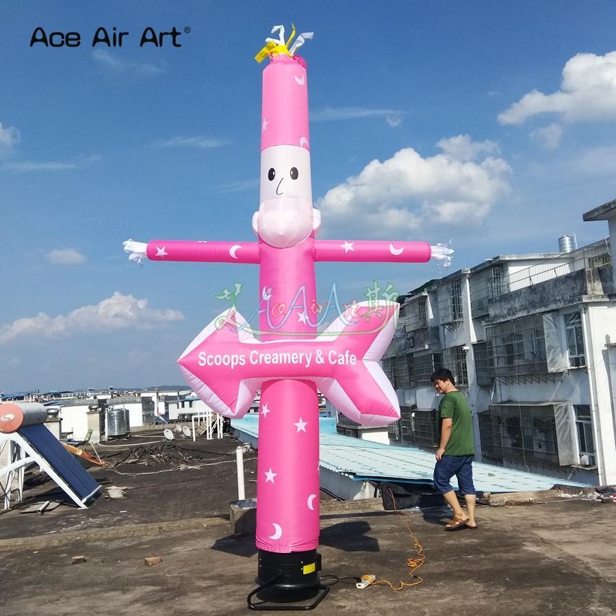 Frete grátis rosa uma perna dançarina inflável para sorvete decoração promoção com placa de publicidade sem ventilador de ar