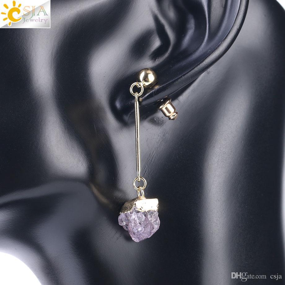 CSJA Brand Amethyst Jewelry Natural Quartz Crystal Druse Gemstone Jewellery Women Push Back Earring Irregular Stone Charm Dangle Brinco F408
