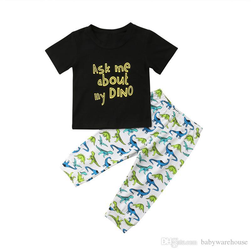 2018 Baby Boy Clothes Cotton Infant Toddler Boys camiseta de manga corta negra + pantalones de dinosaurio 2PCS Summer Boys Outfits Kids Boys Clothing Set