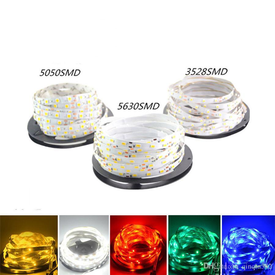 DHL 5M 5050 3528 5630 Led Strips Light Warm White Red Green Blue RGB Flexible 5M Roll 300 Leds 12V outdoor Ribbon Waterproof