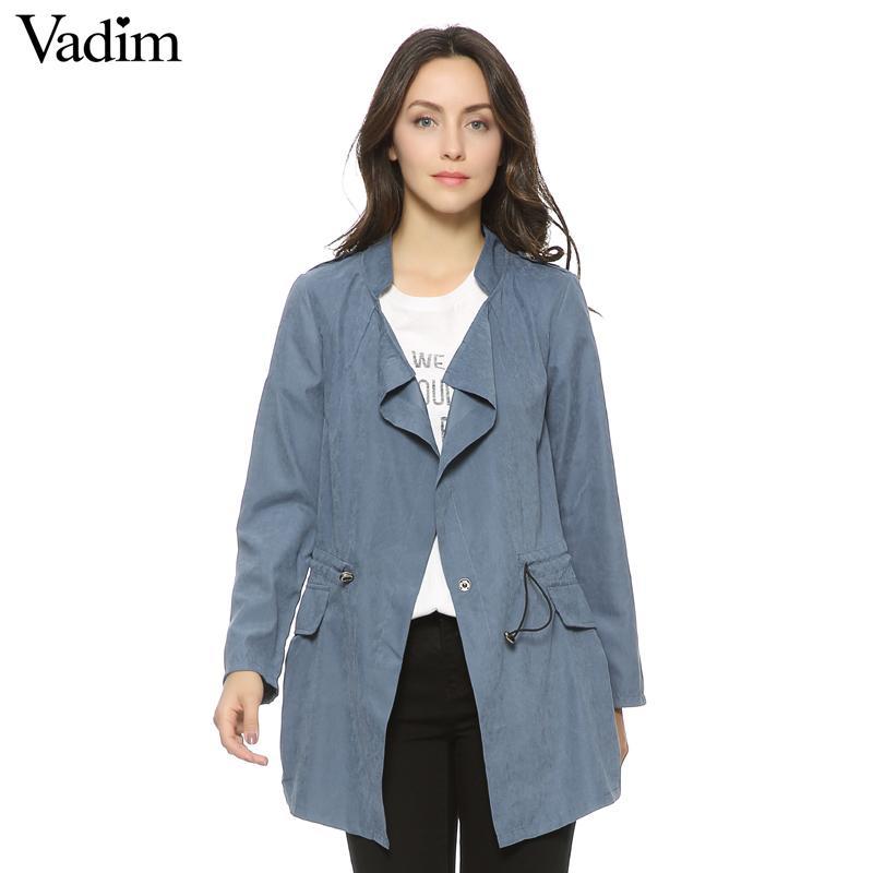 Femmes automne bureau longue tranchée manche complète cordon de serrage taille manteaux casaco féminin streetwear casual tops CT1089 S18101102