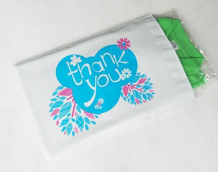 Qi 17x30 cm Merci imprimé PE Couleur Mailing Bags Auto-Seal Enveloppes En Plastique Poly Mailer Sacs blanc express pochette en plastique