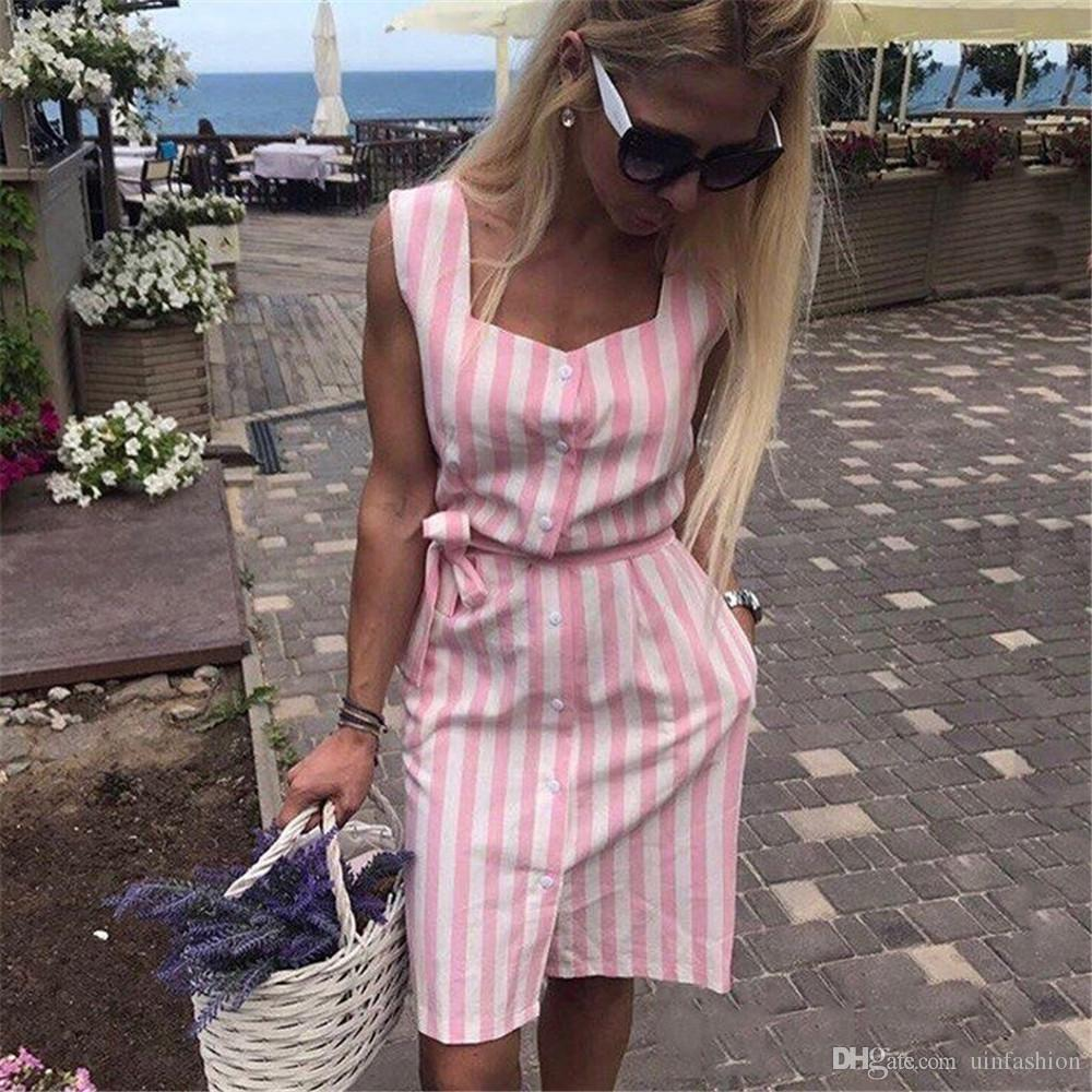 New Fashion Women Shirt Dress Striped Print Navy Blue Pink Square Neck Summer Casual Sleeveless Button Sashes Beach Party Vestidos