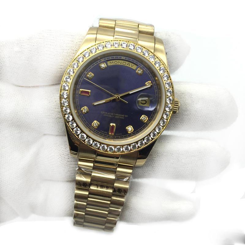 남성용 시계 블루 다이얼 18K 골드 사파이어 다이아몬드 시계 번호 남자 시계 자동 기계식 무브먼트 남성용 손목 시계