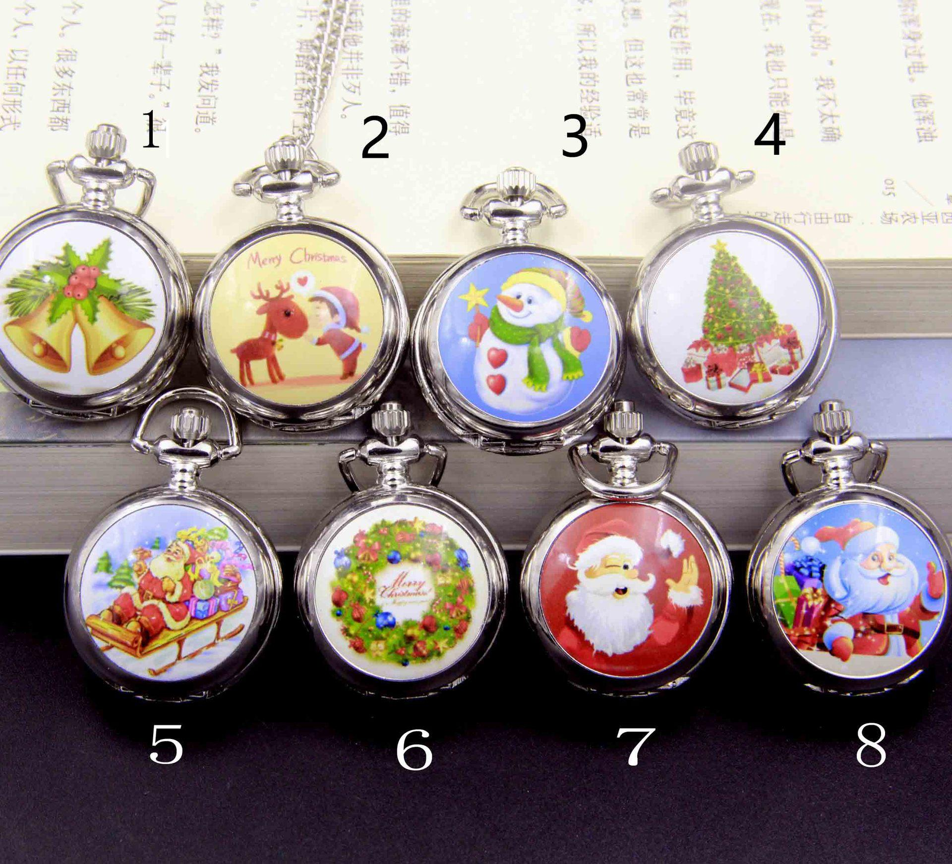 White steel enamel small pocket watch Christmas pocket watch for snowman Santa Claus a sleigh pulled by reindeer