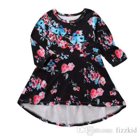 MUQGEW девушки зимнее платье цветочный принт платье с длинным рукавом нерегулярные платье детская одежда малыш девушки платья девушки костюмы roupas
