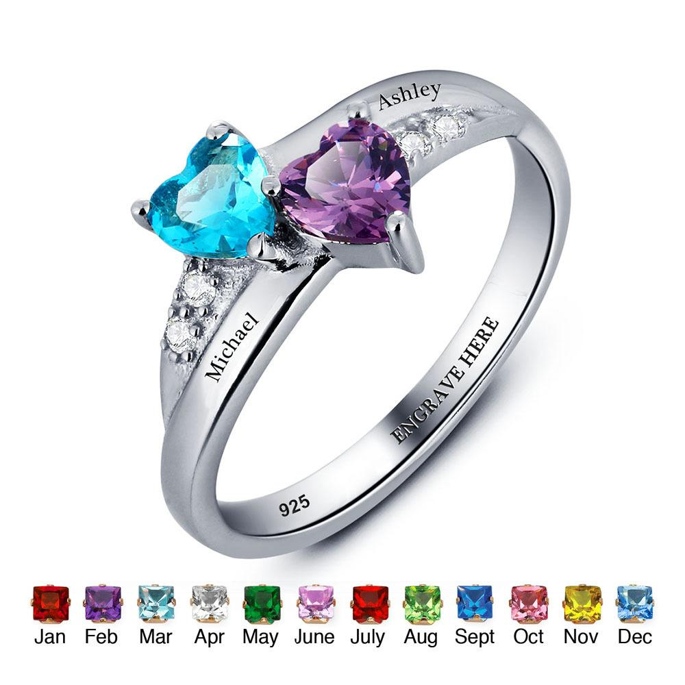 Nome personalizado Anel Amante 925 Sterling Silver Promise Ring Coração Forma Birthstone Grave Jóias Anéis Dia Das Mães (RI101781) Y1892704