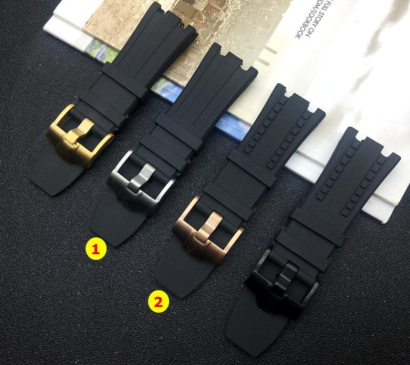 28MM الأسود طبيعة المطاط سيليكون حزام مربط الساعة للرجال حزام للAP للحزام اوك في الخارج على
