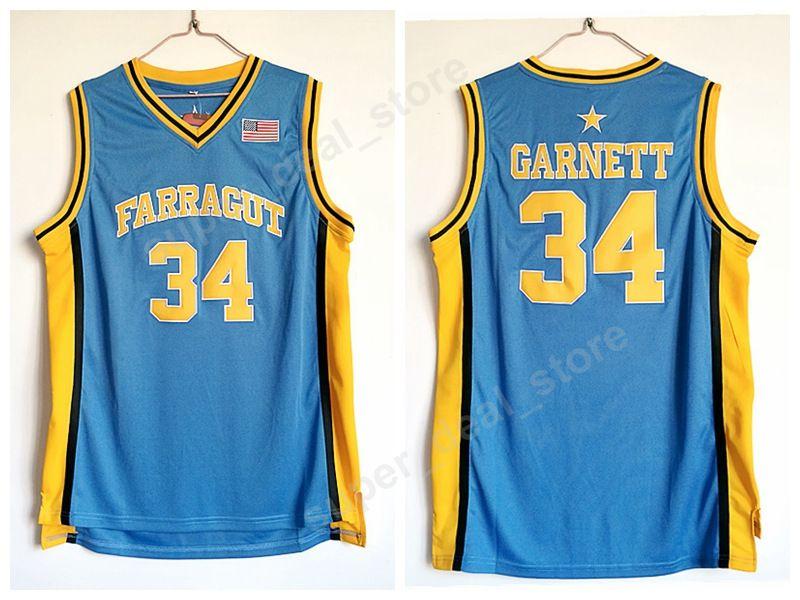 Farragut College 34 Kevin Garnett Jersey Homens Azul Basquete Bordado Garnett High School Jerseys Esporte de Alta Qualidade
