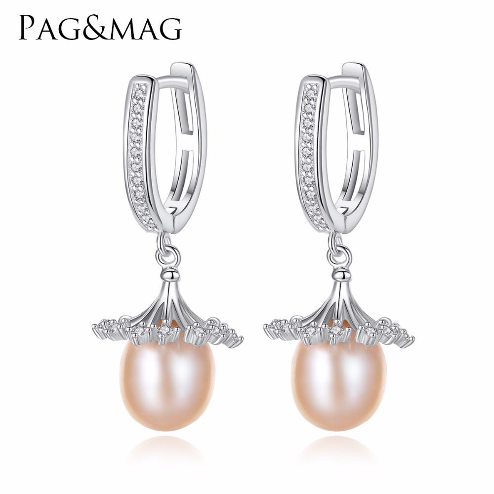 PAG&MAG Brand European Style Loose Flowers Shape Charm Natural Pearl S925 Clip Earrings for Women Fine Jewelry Gifts Wholesale C18110801
