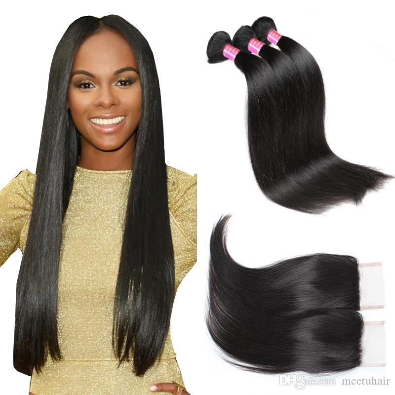 8A Mink Hair Virgin Peruvian Straight Hair 4 Bundles With Closure Buy Good Cheap Brazilian Malaysian Indian Human Hair Weaves Weft Wholesale