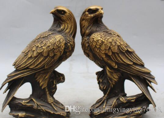"9"" Marked Chinese Feng Shui Bronze Hawk Eagle king of birds Animal Pair Statue"