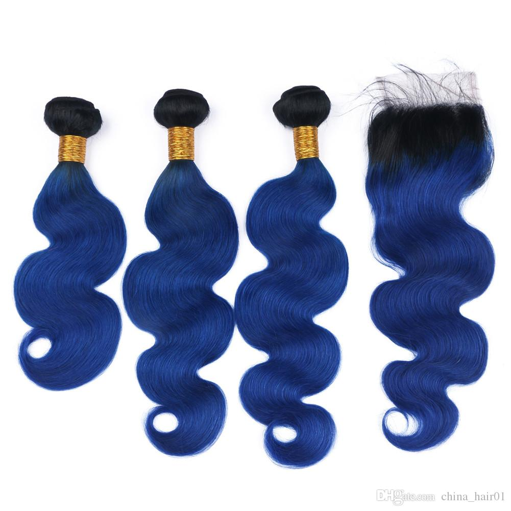 Black and Dark Blue Virgin Brazilian Human Hair Weaves with Lace Closure 4x4 Body Wave #1B/Blue Ombre 3 Bundles with Top Closure