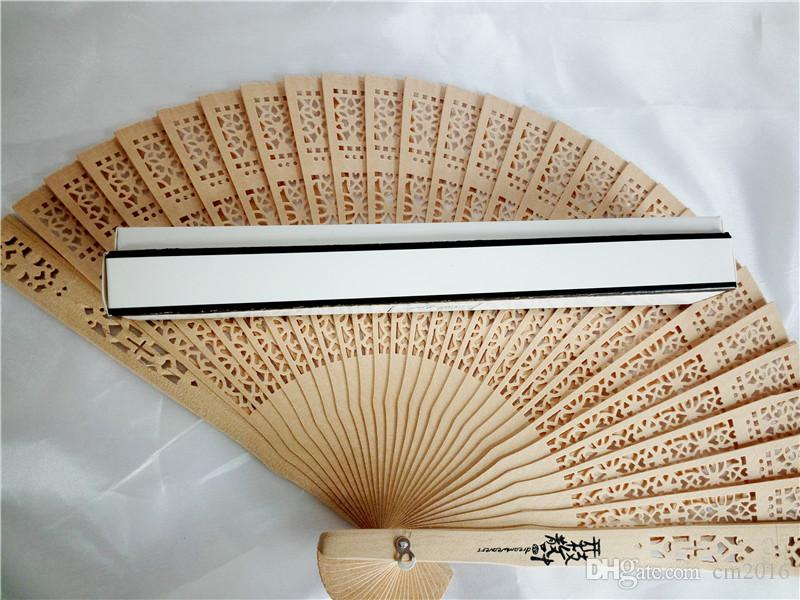 100Pc 20cm Fragrant Home Decoration Crafts Bamboo Wooden Fan Summer Accesory Art Folding Carved Hand Fan + Gift Box