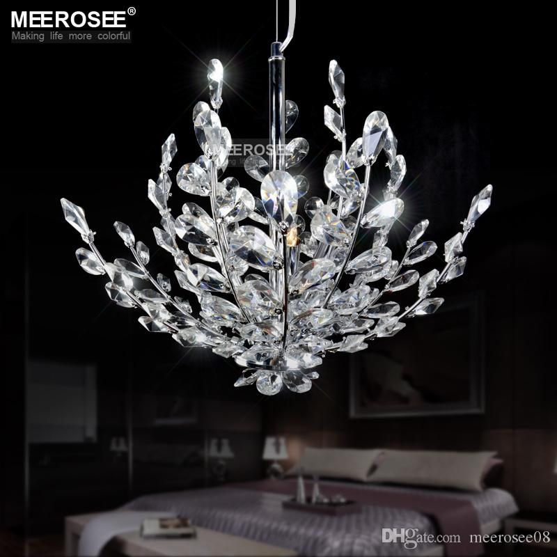Modern Crystal Pendant Light Fixture Vintage Floral French Crystal Lustre Hanging Lamp Suspension Light MD2367
