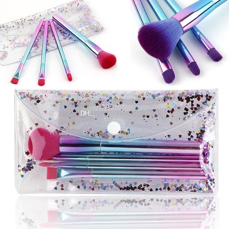 Gradient Makeup Brush Set 4pcs Colorful Plating Handle Facial Make up Brushes Kit Beauty Tools Eyeliner Powder Lip Brush with Cosmetic Bag