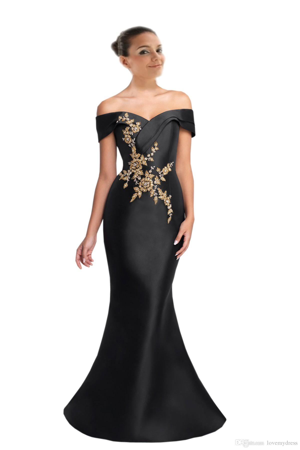 Gold Embellished Black Mermaid Prom Dresses 2019 V neck off the shoulder Satin Beads With Short Sleeves Pageant Evening Party Dress