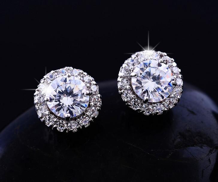 2018New Chegada Melhores Amigos 18 K Brincos Banhados A Ouro Branco Brincos Grandes Diamantes para As Mulheres Branco Brincos De Zircão