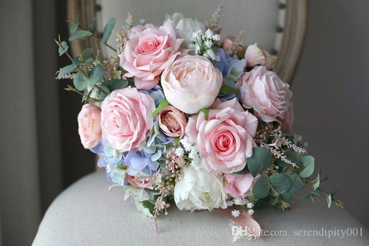 Artificial Pink Bridal Bouquet Rose Bride Real Touch Holding